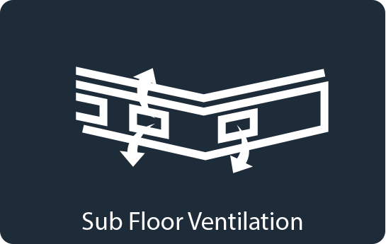 Subfloor Ventilation Icon image with vents and air flowing